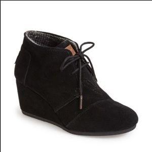 TOMS Black Suede Wedge Booties Boots